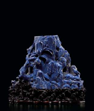 An Exceptional and Large Lapis Lazuli 'Three Star Gods'