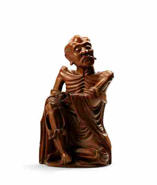 A Carved Boxwood Figure of Luohan, Qing Dynasty