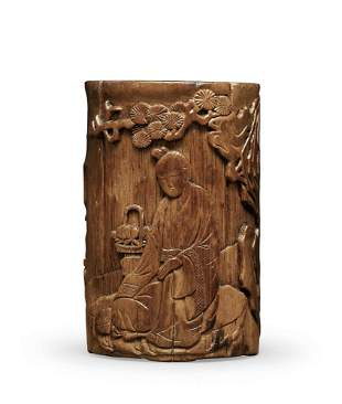 A Carved Bamboo 'Lady' Brushpot, Early Qing Dynasty