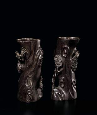 A Pair of Carved Zitan 'Pine' Incense Holders, 17c.