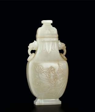 A Fine White Jade 'Lotus' Vase and Cover, Qing Dynasty