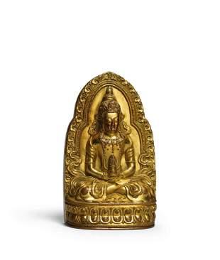 A Gilt-Bronze Figure of Amitayus, Qing Dynasty