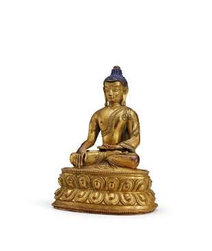 A Gilt-Bronze Figure of Sakyamuni, 18c.