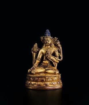 A Gilt-Bronze Figure of Guanyin, 12c.