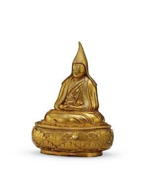 A Gilt-Bronze Figure of Guru, 18c.