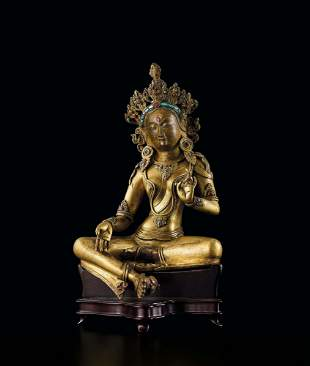 A Gilt-Bronze Figure of Green Tara, 18c.