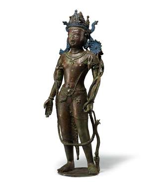 A Rare and Large Bronze Figure of Guanyin, Swat-Style,