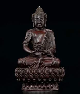 A Fine and Large Bronze Figure of Sakyamuni, 16c.
