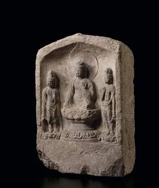 A Rare Stone Buddhist Altarpiece Steele, Tang Dynasty