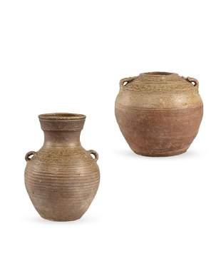 A Set of Two Celadon-Glazed Vase and Jar, Han Dynasty