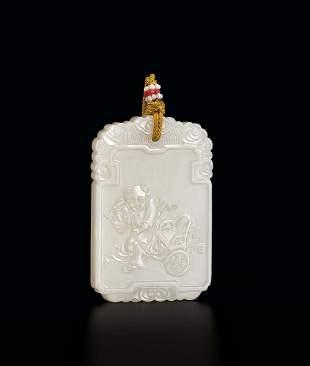 A White Jade 'Figure' Plaque, 18c.