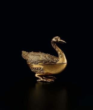 A Gilt-Bronze 'Duck' Censer, 18c.