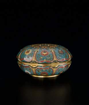 A Fine Bronze Cloisonne Enamel 'Lotus' Box and Cover,