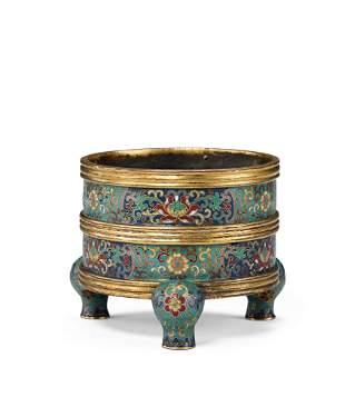 An Imperial Bronze Cloisonne Enamel Circular Tripod