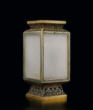 A Rare Bronze Cloisonne Enamel Lantern, 18c.