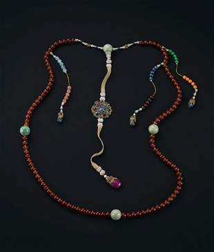 An Amber Beads and Jadeite Beads Court Necklace, Qing