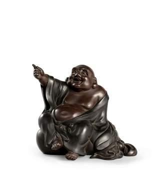 A Bronze Okimono of Mile Buddha, Taisho Period