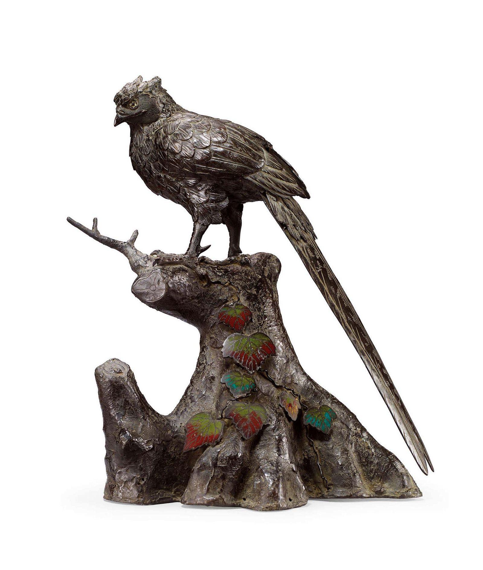 A Bronze Okimono of Pheasant, Meiji Period