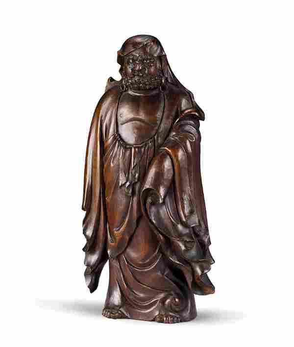 A Carved Wood Figure of Bodhidharma, Taisho Period