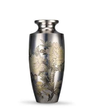 A Silver 'Peony' Vase, Taisho Period