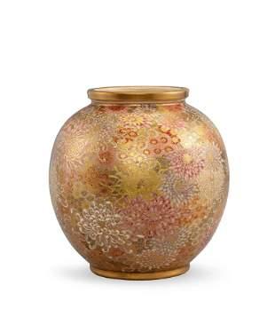 A Satsuma 'Floral' Vase, Meiji Period