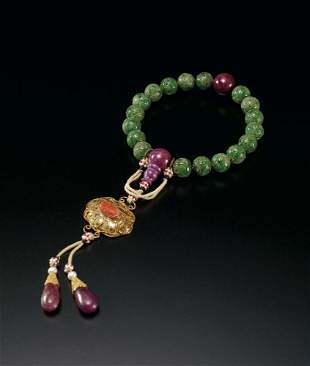 A String of Eighteen Jadeite Beads, Qing Dynasty
