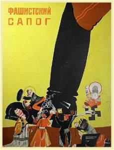 "LYUSHIN, V. ""[LICKING THE] FASCIST BOOT"", 1930"