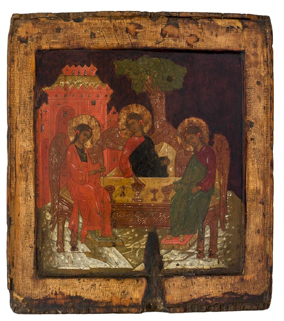 *Holy Trinity (Old-Testament-Type) Russian icon, around
