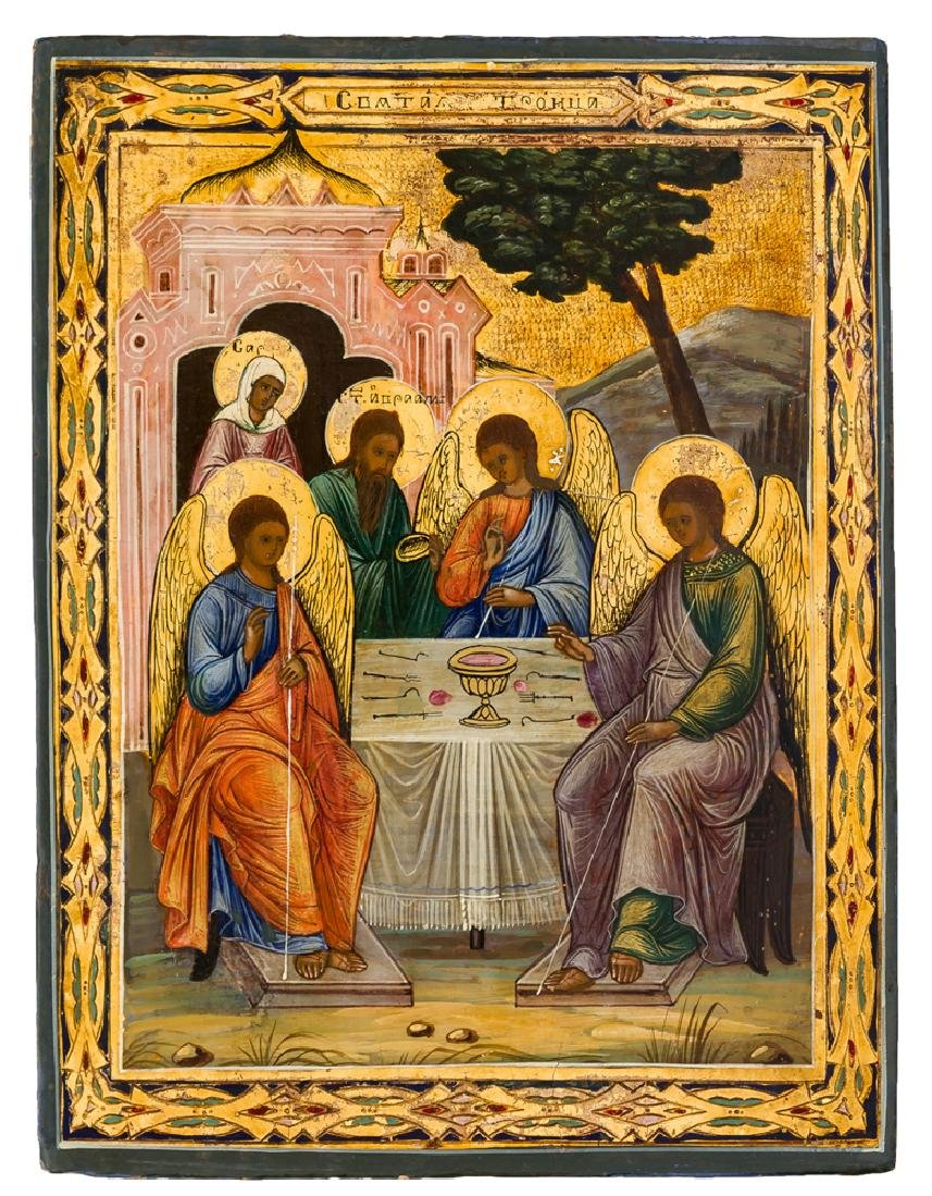 *Holy Trinity (Old Testament Type) Russian icon, around