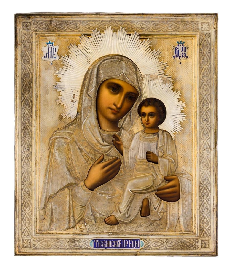 *Mother of God Tichvinskaya Russian icon, around 1900,