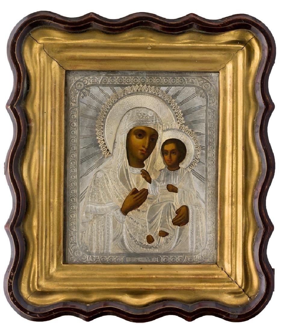 *Mother of God Iverskaya Russian icon, around 1900,
