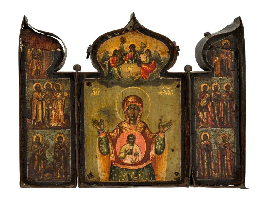*Mother of God Známenie Russian Triptych, end of 18th
