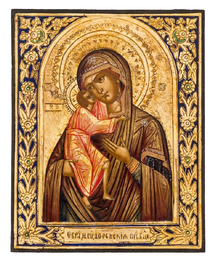 *Mother of God Feodorovskaya Russian icon, around 1900