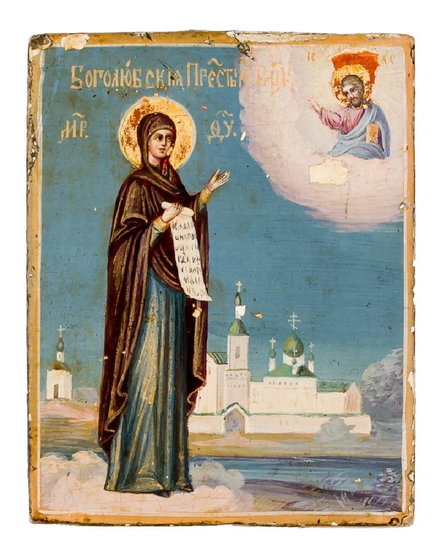 *Mother of God Bogolubskaya Russian icon, 19th c. 8,7 x