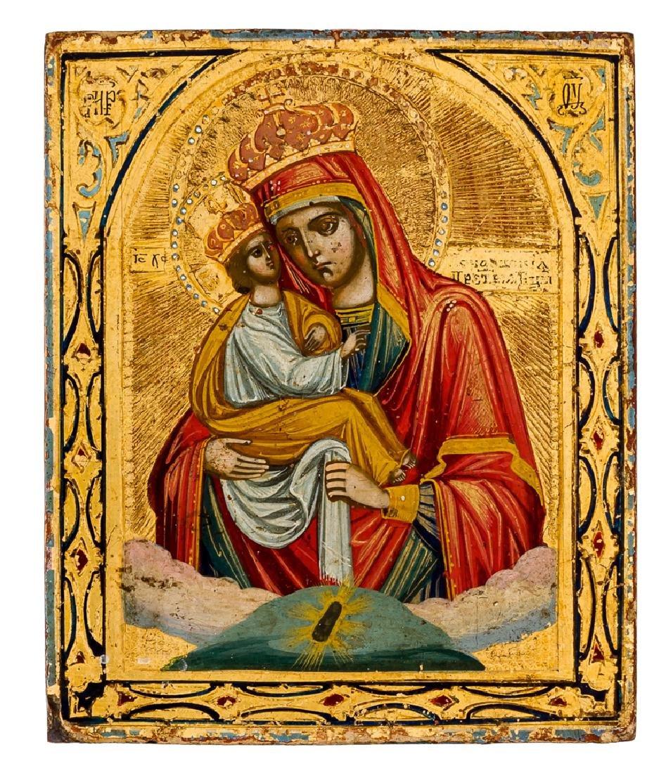*Mother of God Pochaevskaya Russian icon, around 1900