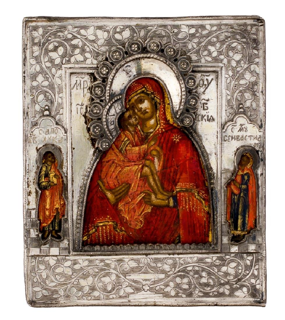 *Mother of God Donskaya Russian icon with silver oklad,