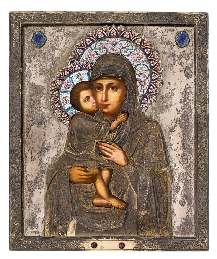 *Mother of God Eletskaya Russian icon, around 1900,