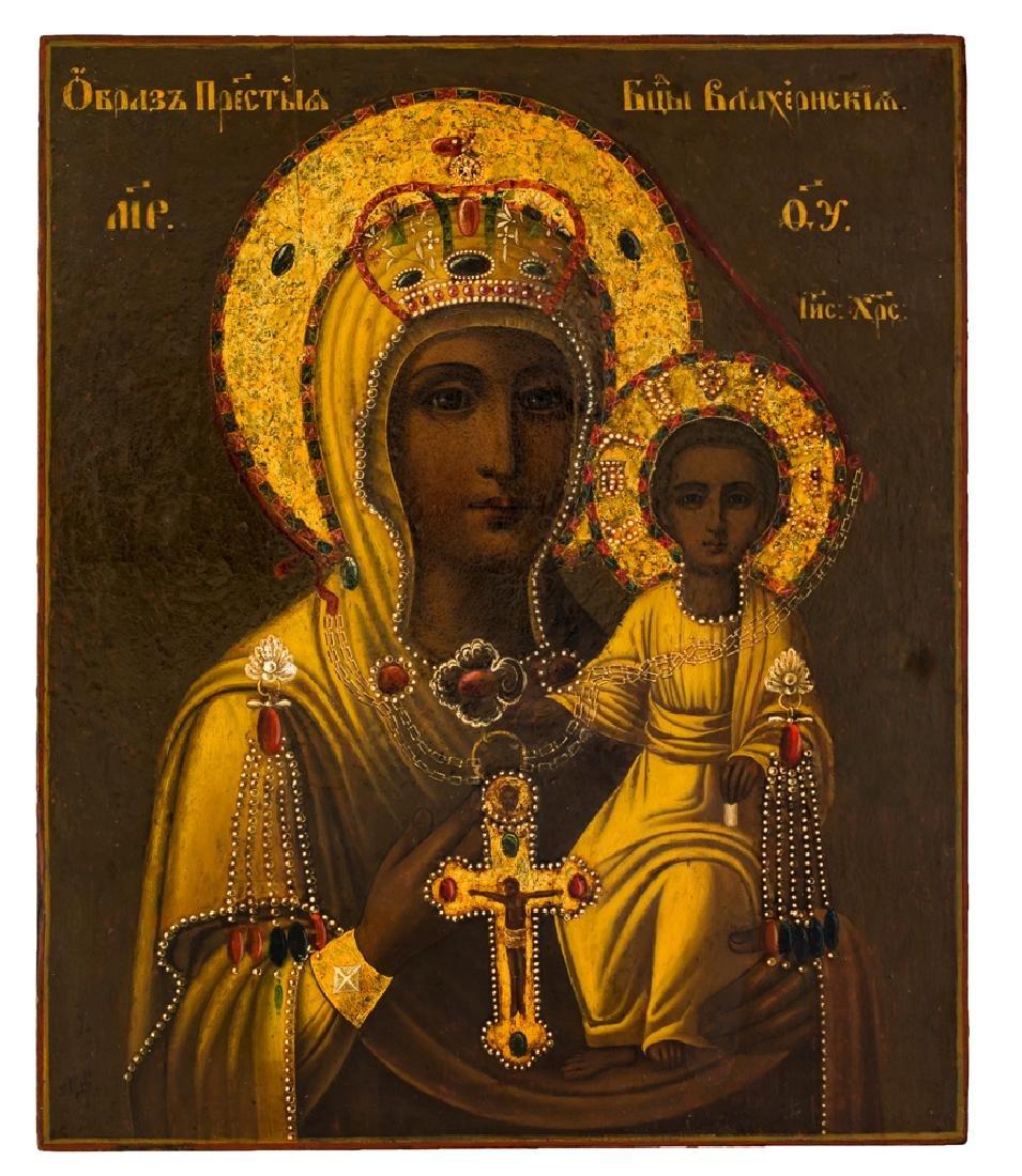 *Mother of God Vlachernskaya Russian icon, end of 19th
