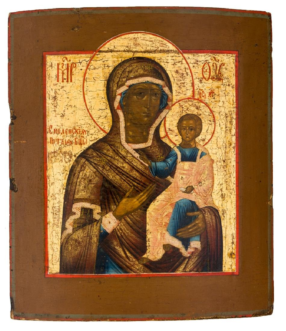 *Mother of God Smolenskaya Russian icon, around1800