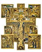 *Cross Russian fivefold enamelled Metal-cross, 19th c.