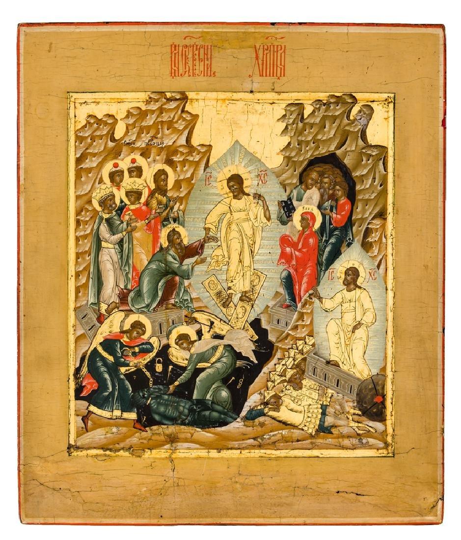 *Anastasis Russian icon, around 1800 31 x 26,5 cm Very