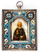Russian icon with enameled silver oklad