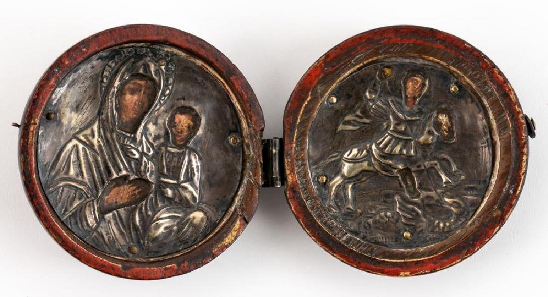 Greek Travel-icon with silver-oklad, 19th c.