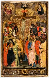 Important painting of the crucifixion of Jesus