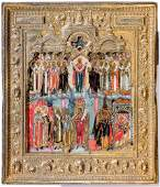 Very finely painted icon of the Mother of God Pokrov
