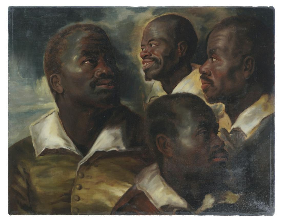 Unknown artist, Portrait studies, Oil on canvas