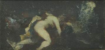 Unknown painter, Faun and Nymph, Oil on panel
