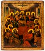 A RUSSIAN ICON SHOWING THE DESCENT OF THE HOLY