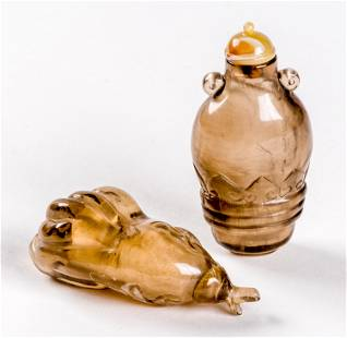 2 CHINESE SMOKY QUARTZ SNUFF BOTTLES in different