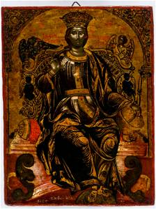 SIGNED AND DATED CRETAN ICON SHOWING CHRIST THE